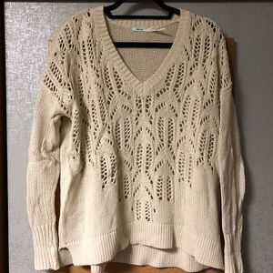 Cream Urban Outfitters Cutout Sweater